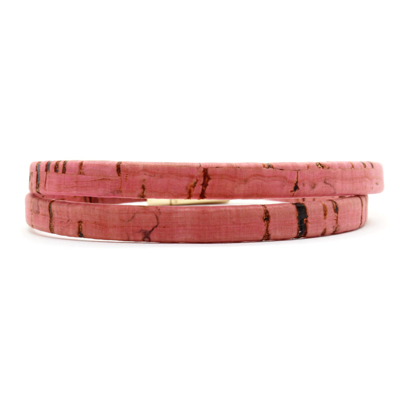 Dark Pink Double Wrap Cork Bracelet