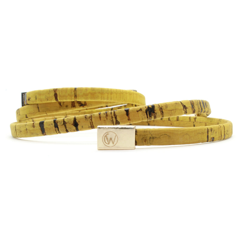 Golden Yellow Double Wrap Cork Bracelet