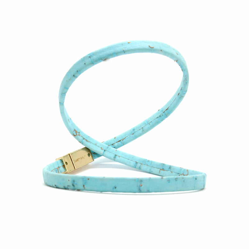 Light Blue Double Wrap Cork Bracelet