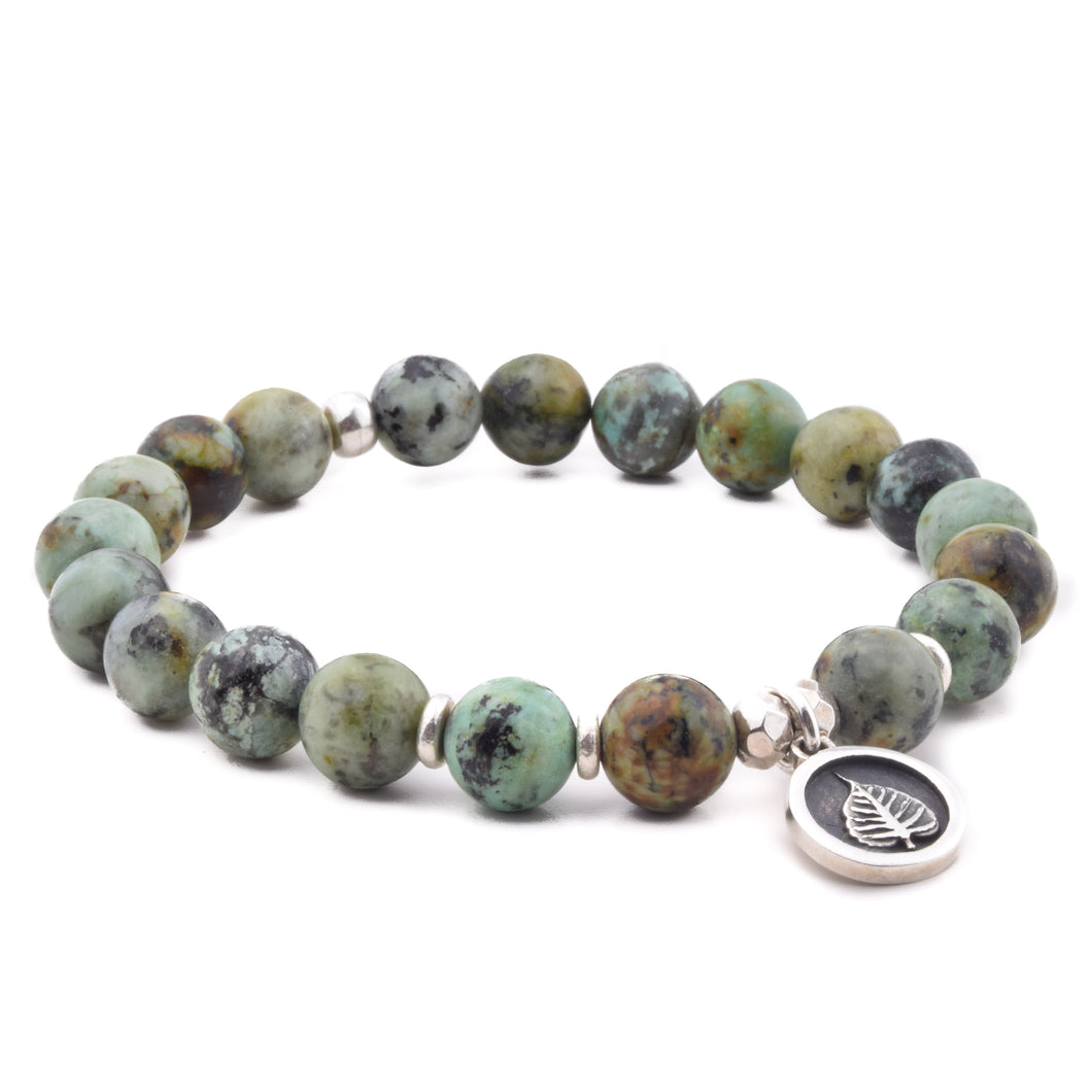 PERSONAL EVOLUTION - Sacred Symbol Intention Bracelet - African Turquoise with Bodhi Leaf Charm