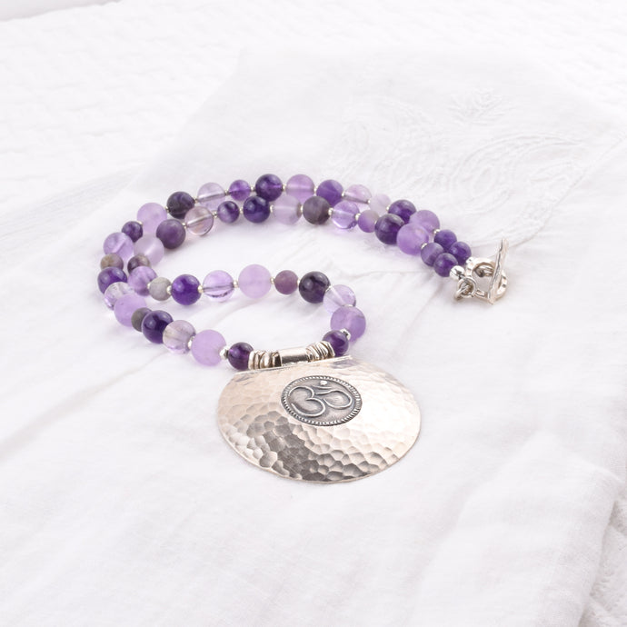 Sacred Symbol Large OM Pendant Necklace- Amethyst + Hill Tribe Silver