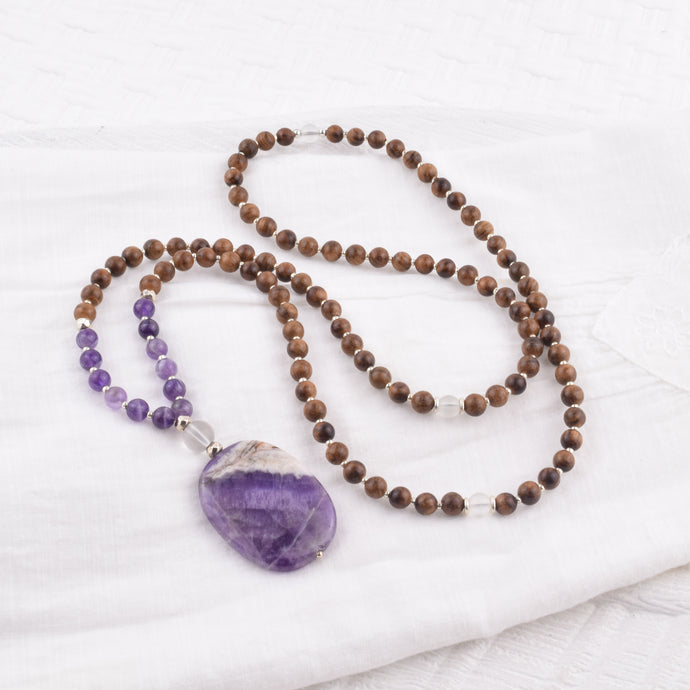 108 Bead Mala - Amethyst + Rosewood + Hill Tribe Silver