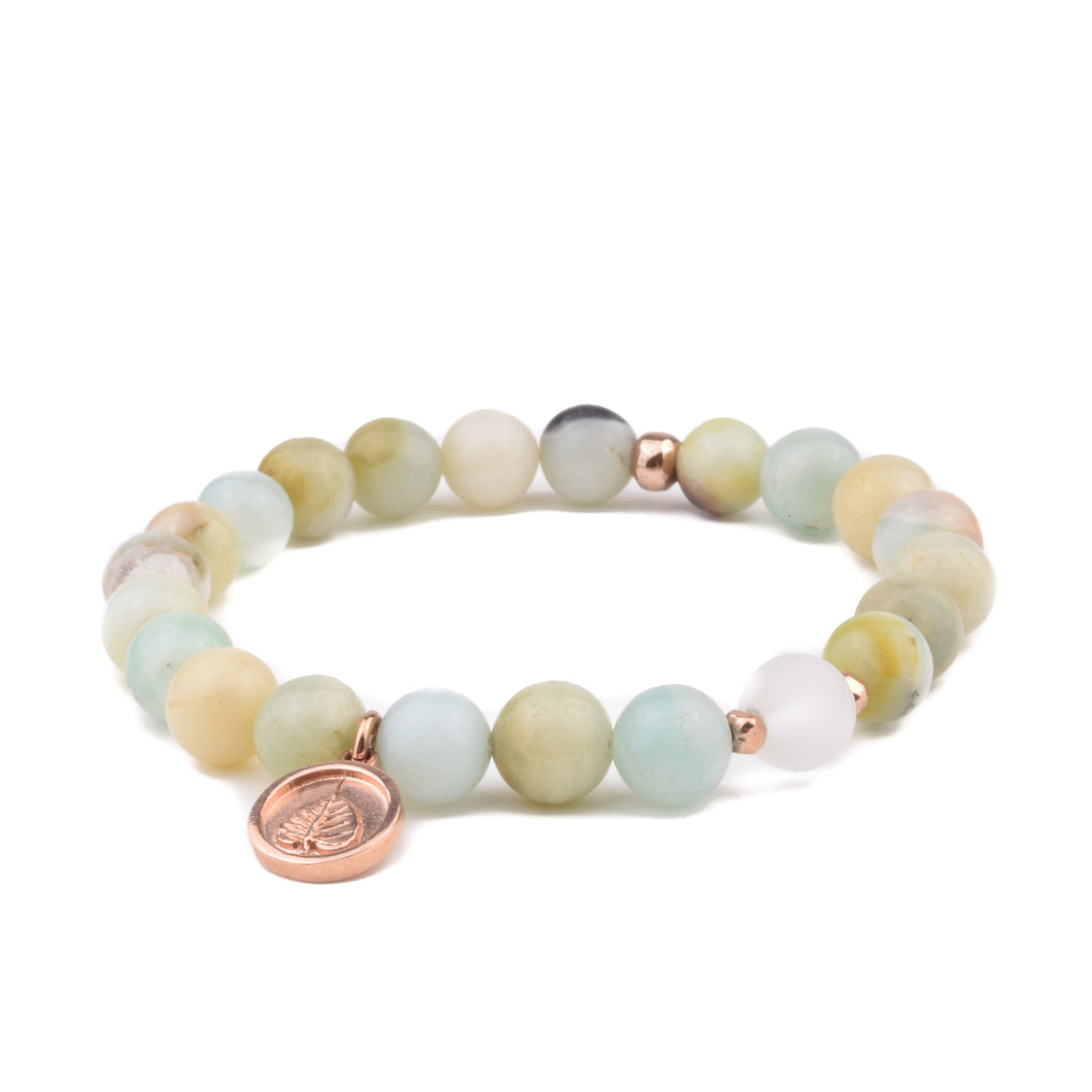 COURAGE + COMMUNICATION - Sacred Symbol Bracelet - Amazonite with Bodhi Leaf Charm