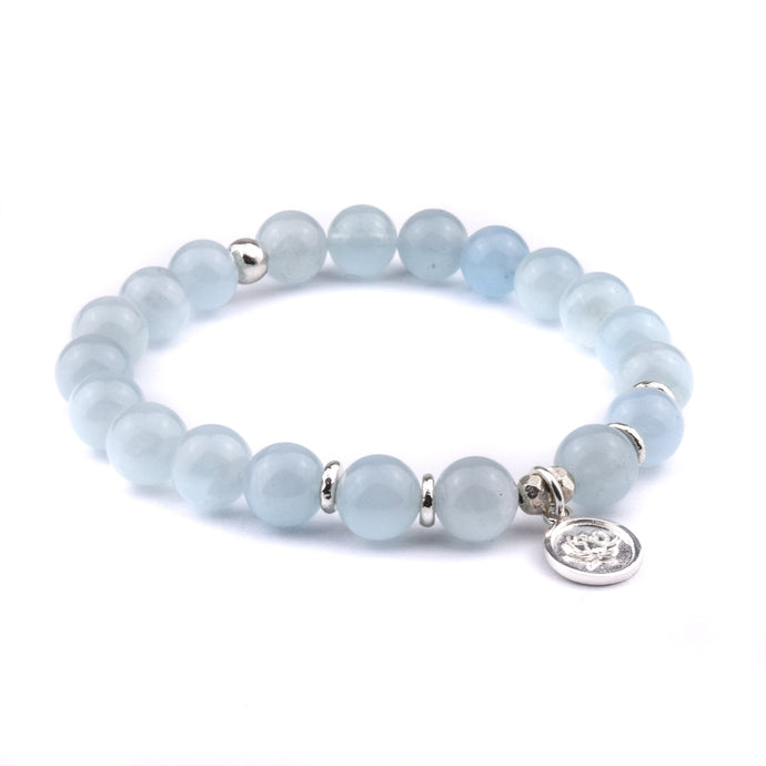 RELEASE + LET GO - Sacred Symbol Intention Bracelet - Aquamarine with Lotus Charm
