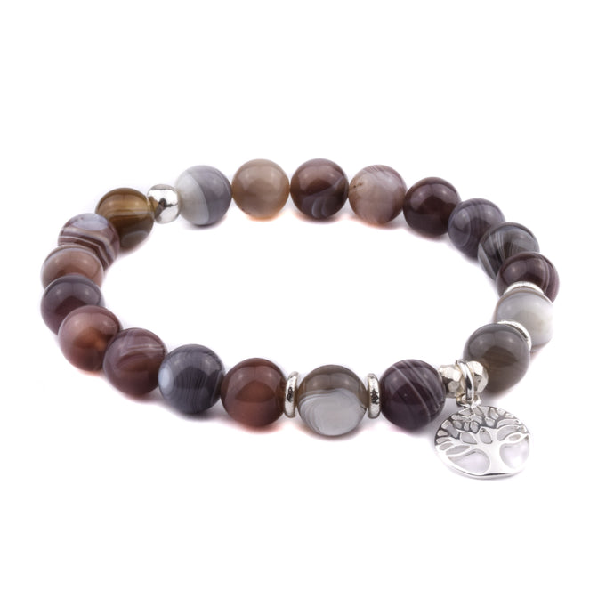 COMFORT + BALANCE - Sacred Symbol Intention Bracelet - Botswana Agate with Tree of Life Charm