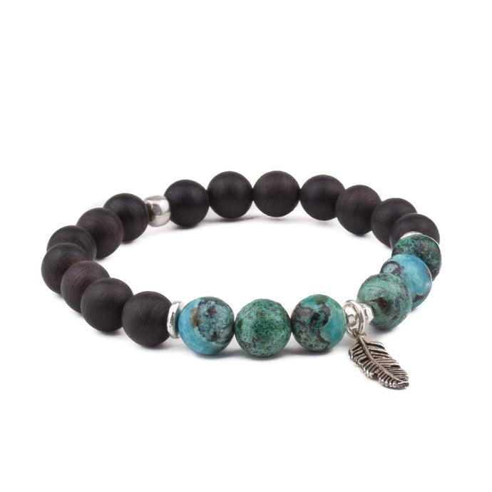 DIVINE FEMININE - Sacred Symbol Bracelet - Chrysocolla + Blackwood + Sterling Feather Charm