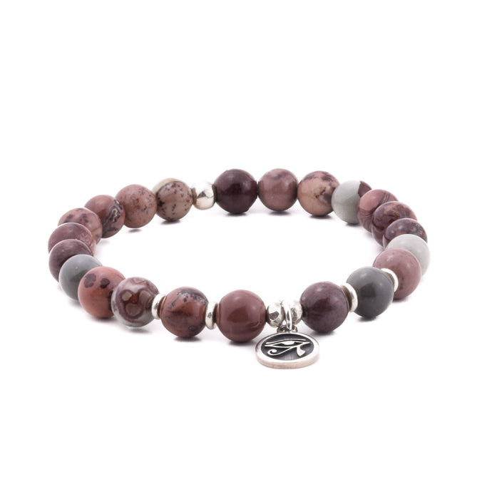 SELF CARE - Sacred Symbol Intention Bracelet - Artistic Jasper with Eye of Horus Charm