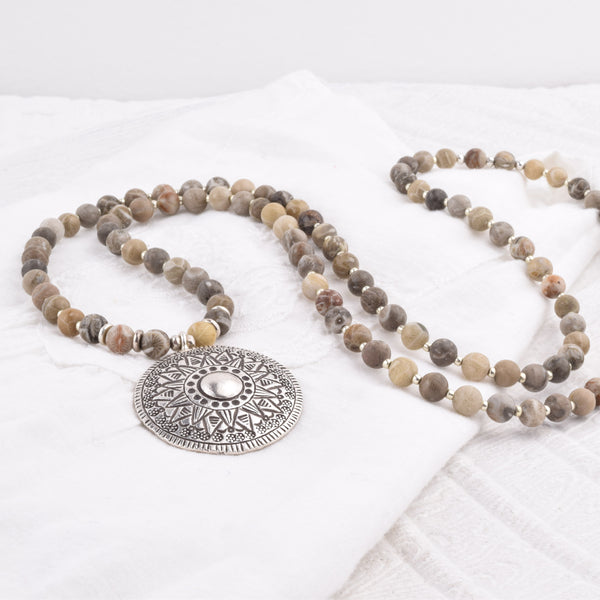 108 Bead Mala - Fossil Coral + Hill Tribe Silver