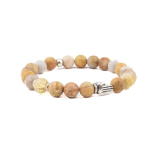 NAMASTE Bracelet - Fossil Coral + Citrine + Sterling Silver Praying Hands
