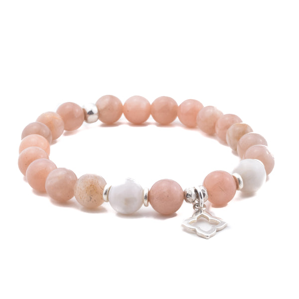 INNER STRENGTH - Sacred Symbol Intention Bracelet - Peach Moonstone with Flower Charm