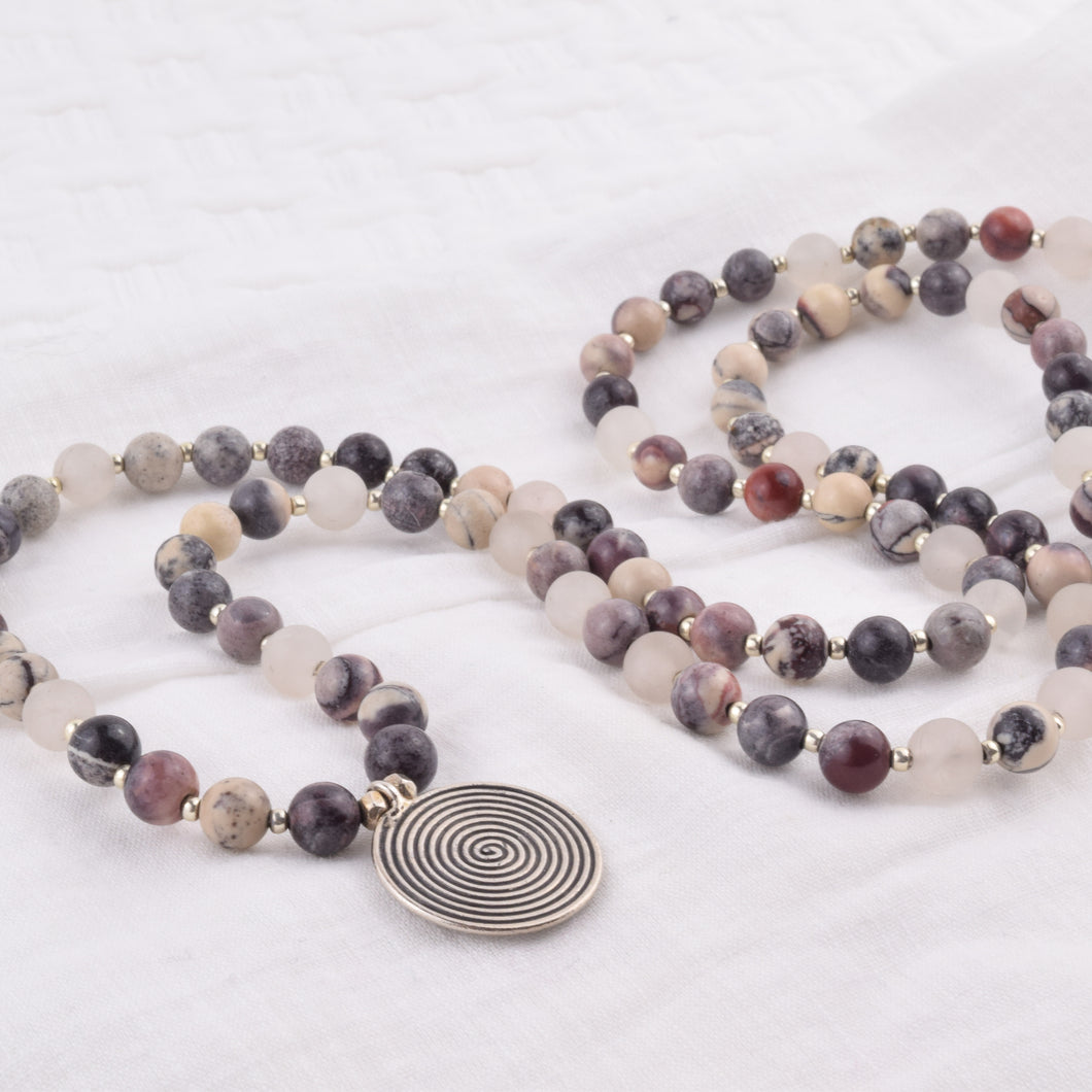 108 Bead Mala - Porcelain Jasper + Rose Quartz + Hill Tribe Silver