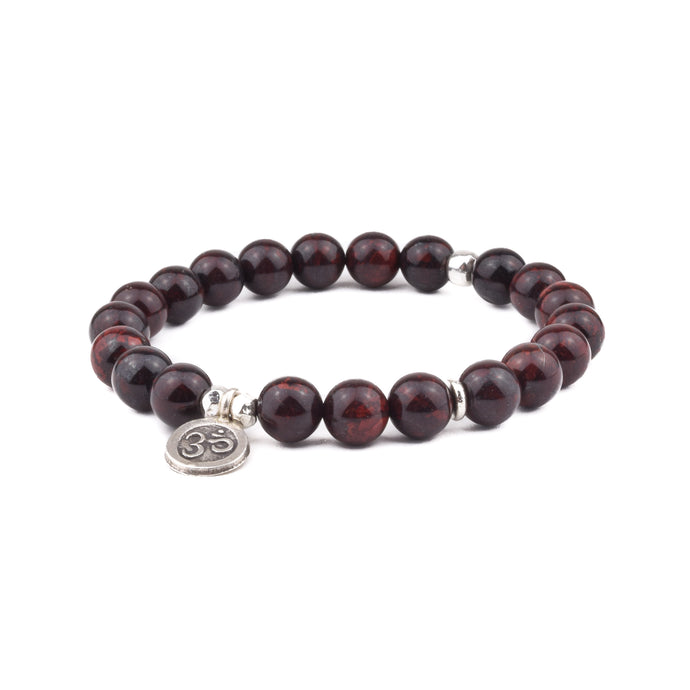 STRENGTH + SAFETY - Sacred Symbol Intention Bracelet - Brecciated Jasper with OM Charm