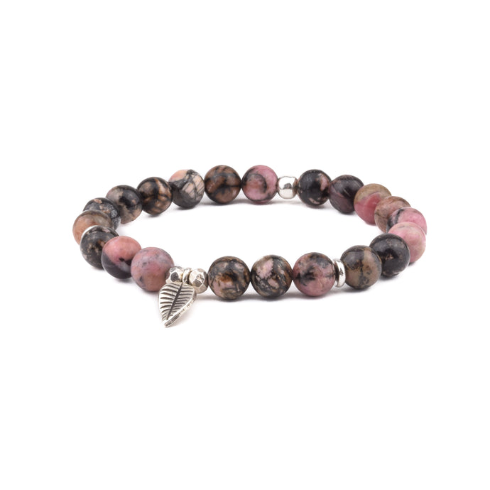 FORGIVENESS + RESOLUTION - Sacred Symbol Bracelet - Rhodonite with Leaf Charm