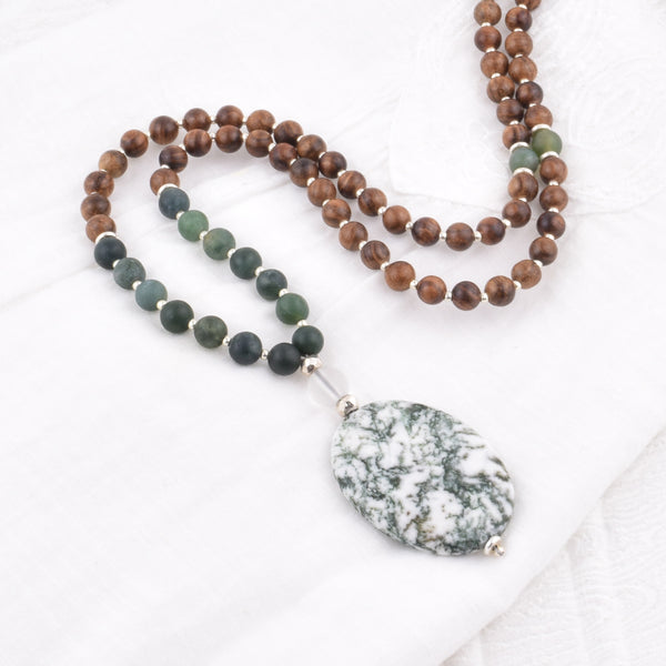 108 Bead Mala - Tree Agate + Quartz + Sacred Indian Rosewood + Hill Tribe Silver