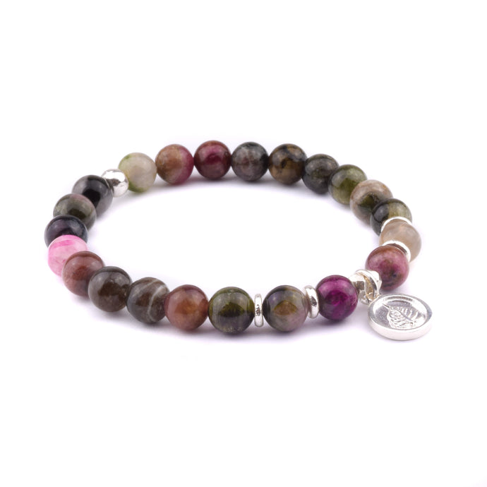 Tourmaline Bracelet with Bodhi Leaf Charm