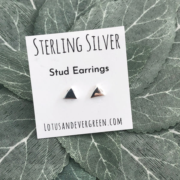 Sterling Silver Studs - Triangle Earrings - Polished Silver