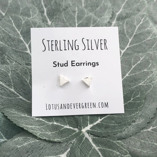 Sterling Silver Studs - Triangle Earrings - Brushed Silver