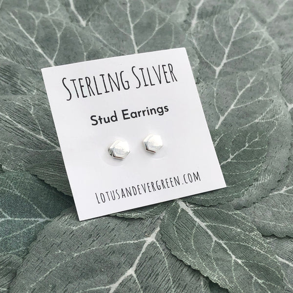 Sterling Silver Studs - Hexagon Earrings - Polished Finish