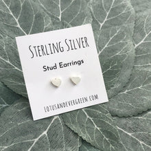 Sterling Silver Studs - Heart Earrings - Polished Finish