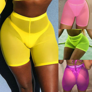 High Waist  Mesh Cover Up Shorts
