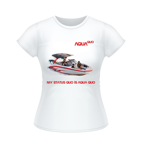 "Skydiving T-shirts AquaQuo - ""My Status Quo is Aqua Quo"" -  Ladies' T-Shirt, , Skydiving Apparel ™, Skydiving Apparel, Skydiving Apparel, Skydiving Gear, Olympics, T-Shirts, Skydive Chicago, Skydive City, Skydive Perris, Drop Zone Apparel, USPA, united states parachute association, Freefly, BASE, World Record,"