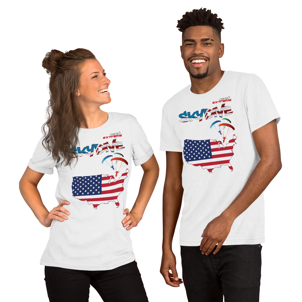 Skydiving T-shirts - Skydive All World - AMERICA - Ladies' Tee -, Shirts, Skydiving Apparel, Skydiving Apparel, Skydiving Apparel, Skydiving Gear, Olympics, T-Shirts, Skydive Chicago, Skydive City, Skydive Perris, Drop Zone Apparel, USPA, united states parachute association, Freefly, BASE, World Record,