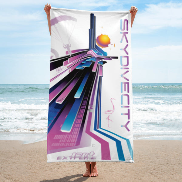 Skydiving T-shirts SkydiveCity Flamingo - Beach Towel, Beach Towel, eXtreme 120+™ Skydiving Apparel, eXtreme 120+™ Skydiving Apparel, Skydiving Apparel, Skydiving Gear, Olympics, T-Shirts, Skydive Chicago, Skydive City, Skydive Perris, Drop Zone Apparel, USPA, united states parachute association, Freefly, BASE, World Record,