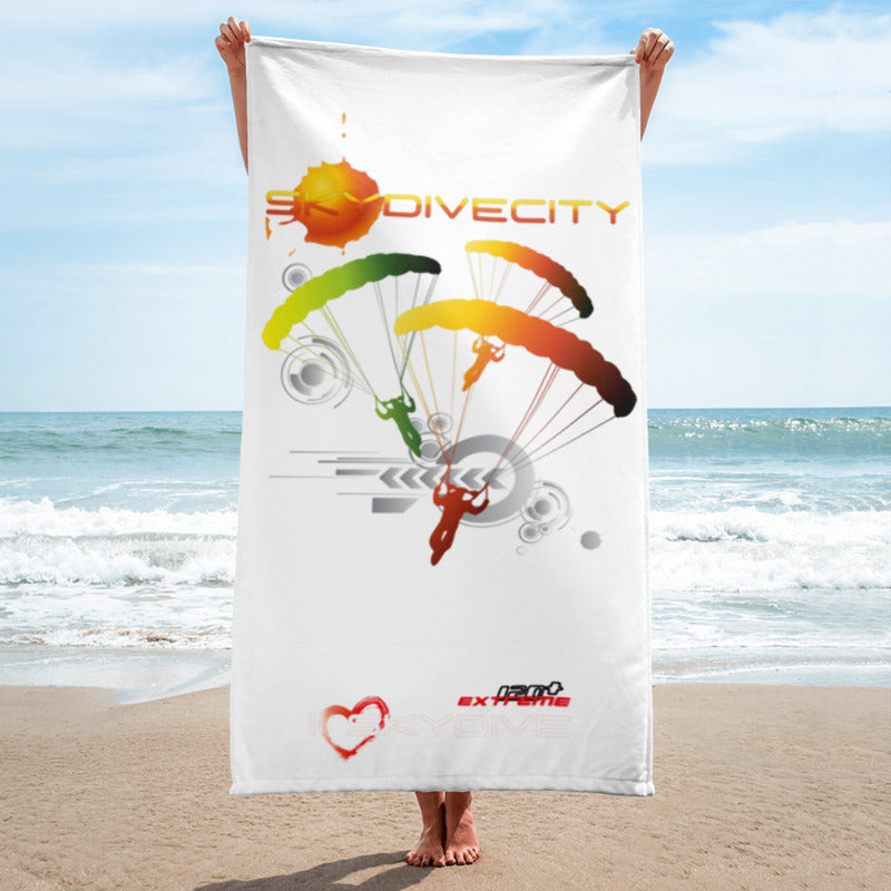 Skydiving T-shirts SkydiveCity Sun - Beach Towel, Beach Towel, eXtreme 120+™ Skydiving Apparel, Skydiving Apparel, Skydiving Apparel, Skydiving Gear, Olympics, T-Shirts, Skydive Chicago, Skydive City, Skydive Perris, Drop Zone Apparel, USPA, united states parachute association, Freefly, BASE, World Record,