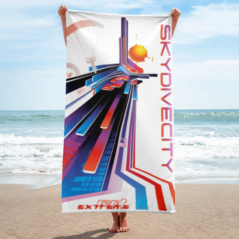 Skydiving T-shirts SkydiveCity Sunset - Beach Towel, Beach Towel, eXtreme 120+™ Skydiving Apparel, Skydiving Apparel, Skydiving Apparel, Skydiving Gear, Olympics, T-Shirts, Skydive Chicago, Skydive City, Skydive Perris, Drop Zone Apparel, USPA, united states parachute association, Freefly, BASE, World Record,