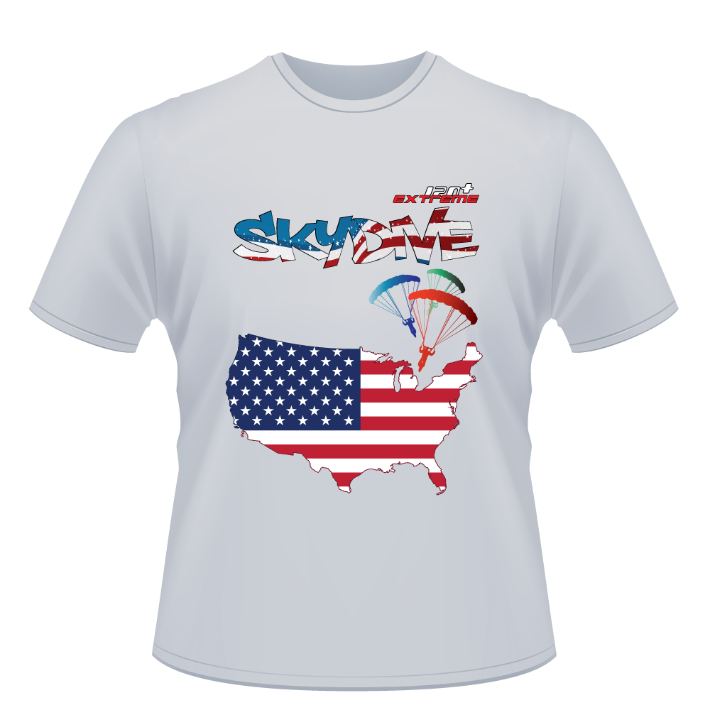 Skydiving T-shirts - Skydive All World - AMERICA - Unisex Tee -, Shirts, eXtreme 120+™ Skydiving Apparel, eXtreme 120+™ Skydiving Apparel, Skydiving Apparel, Skydiving Gear, Olympics, T-Shirts, Skydive Chicago, Skydive City, Skydive Perris, Drop Zone Apparel, USPA, united states parachute association, Freefly, BASE, World Record,