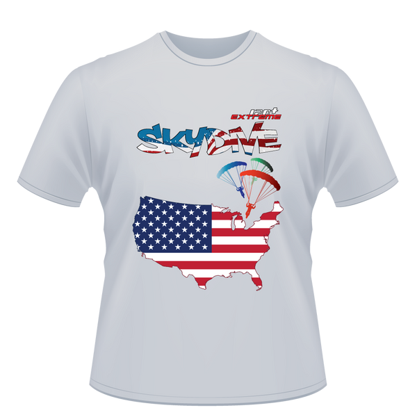 Skydiving T-shirts - Skydive World - AMERICA - Cotton Tee -, Shirts, eXtreme 120+™ Skydiving Apparel, eXtreme 120+™ Skydiving Apparel, Skydiving Apparel, Skydiving Gear, Olympics, T-Shirts, Skydive Chicago, Skydive City, Skydive Perris, Drop Zone Apparel, USPA, united states parachute association, Freefly, BASE, World Record,