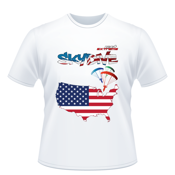 Skydiving T-shirts - Skydive All World - AMERICA - Unisex Tee -, T-shirt, eXtreme 120+™ Skydiving Apparel, Skydiving Apparel, Skydiving Apparel, Skydiving Gear, Olympics, T-Shirts, Skydive Chicago, Skydive City, Skydive Perris, Drop Zone Apparel, USPA, united states parachute association, Freefly, BASE, World Record,