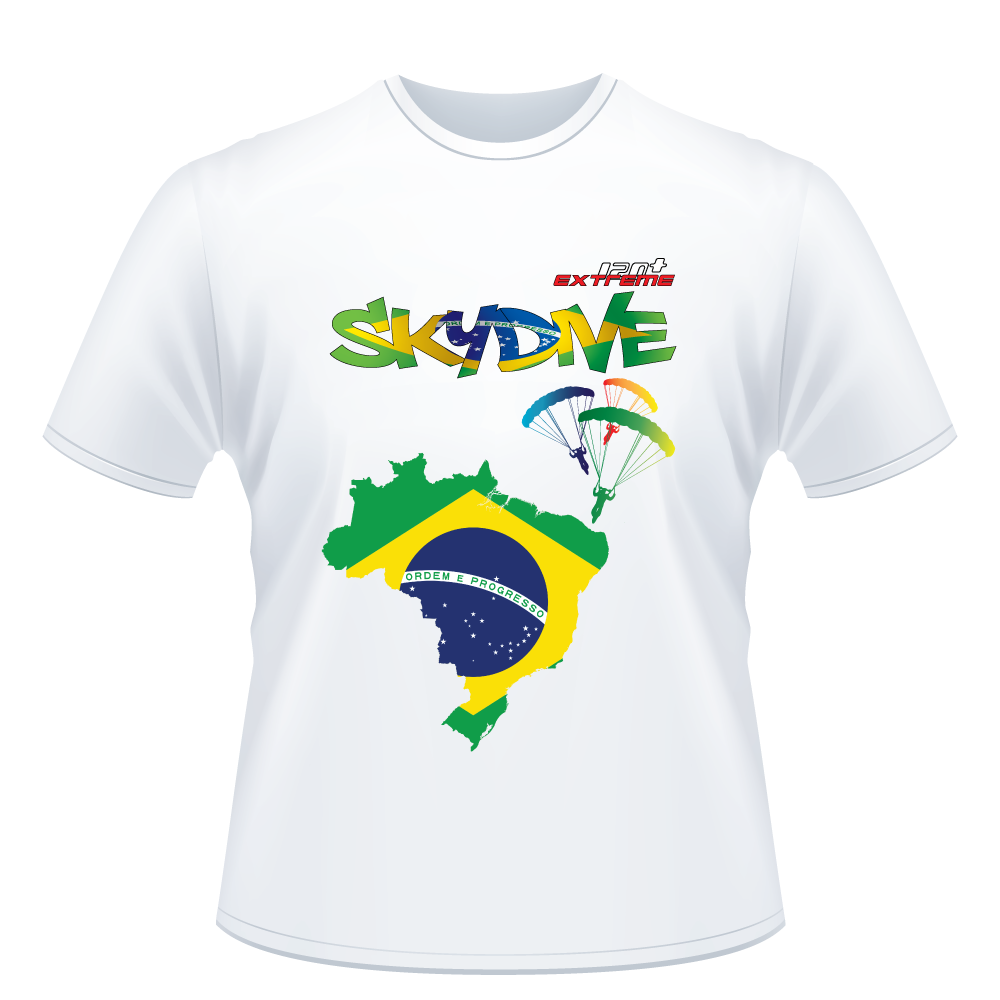 Skydiving T-shirts - Skydive World - BRAZIL - Cotton Tee -, Shirts, Skydiving Apparel, Skydiving Apparel, Skydiving Apparel, Skydiving Gear, Olympics, T-Shirts, Skydive Chicago, Skydive City, Skydive Perris, Drop Zone Apparel, USPA, united states parachute association, Freefly, BASE, World Record,
