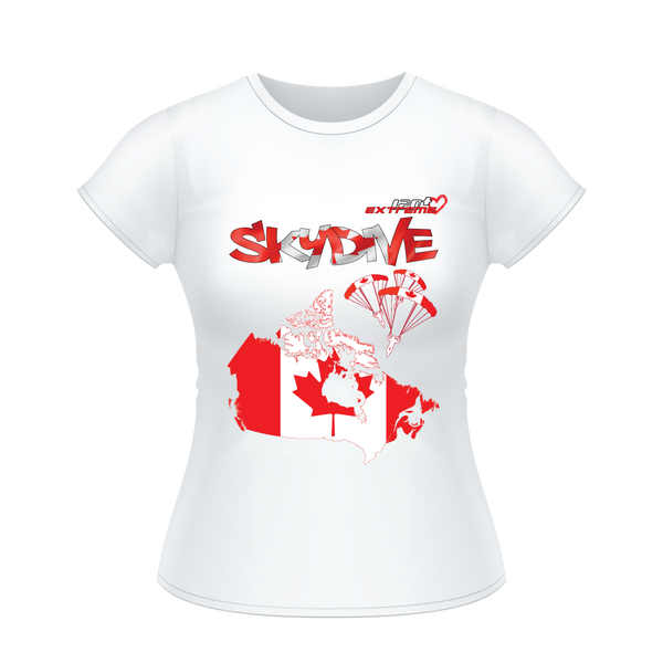 Skydiving T-shirts - Skydive All World - CANADA - Ladies' Tee, Shirts, Skydiving Apparel, Skydiving Apparel, Skydiving Apparel, Skydiving Gear, Olympics, T-Shirts, Skydive Chicago, Skydive City, Skydive Perris, Drop Zone Apparel, USPA, united states parachute association, Freefly, BASE, World Record,