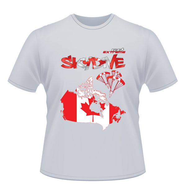 Skydiving T-shirts - Skydive World - CANADA - Cotton Tee -, Shirts, eXtreme 120+™ Skydiving Apparel, eXtreme 120+™ Skydiving Apparel, Skydiving Apparel, Skydiving Gear, Olympics, T-Shirts, Skydive Chicago, Skydive City, Skydive Perris, Drop Zone Apparel, USPA, united states parachute association, Freefly, BASE, World Record,