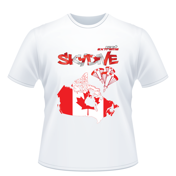 Skydiving T-shirts - Skydive All World - CANADA - Unisex Tee -, T-shirt, eXtreme 120+™ Skydiving Apparel, eXtreme 120+™ Skydiving Apparel, Skydiving Apparel, Skydiving Gear, Olympics, T-Shirts, Skydive Chicago, Skydive City, Skydive Perris, Drop Zone Apparel, USPA, united states parachute association, Freefly, BASE, World Record,