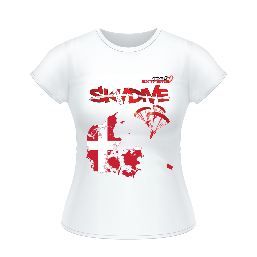 Skydiving T-shirts - Skydive All World - DENMARK - Ladies' Tee -, Shirts, Skydiving Apparel, Skydiving Apparel, Skydiving Apparel, Skydiving Gear, Olympics, T-Shirts, Skydive Chicago, Skydive City, Skydive Perris, Drop Zone Apparel, USPA, united states parachute association, Freefly, BASE, World Record,
