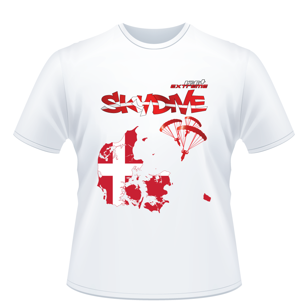 Skydiving T-shirts - Skydive All World - DENMARK - Unisex Tee -, T-shirt, eXtreme 120+™ Skydiving Apparel, eXtreme 120+™ Skydiving Apparel, Skydiving Apparel, Skydiving Gear, Olympics, T-Shirts, Skydive Chicago, Skydive City, Skydive Perris, Drop Zone Apparel, USPA, united states parachute association, Freefly, BASE, World Record,