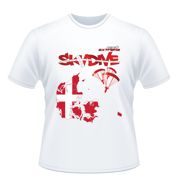 Skydiving T-shirts - Skydive All World - DENMARK - Unisex Tee -, Shirts, eXtreme 120+™ Skydiving Apparel, eXtreme 120+™ Skydiving Apparel, Skydiving Apparel, Skydiving Gear, Olympics, T-Shirts, Skydive Chicago, Skydive City, Skydive Perris, Drop Zone Apparel, USPA, united states parachute association, Freefly, BASE, World Record,