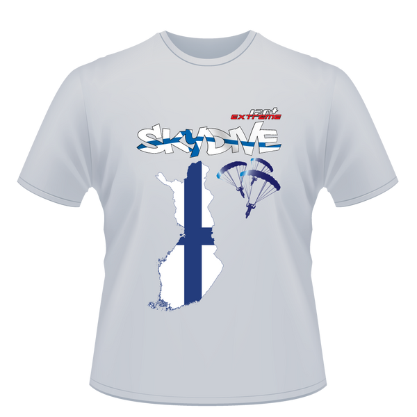 Skydiving T-shirts - Skydive World - FINLAND - Cotton Tee -, Shirts, eXtreme 120+™ Skydiving Apparel, eXtreme 120+™ Skydiving Apparel, Skydiving Apparel, Skydiving Gear, Olympics, T-Shirts, Skydive Chicago, Skydive City, Skydive Perris, Drop Zone Apparel, USPA, united states parachute association, Freefly, BASE, World Record,