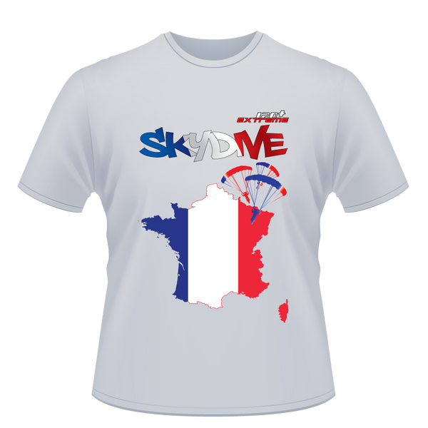 Skydiving T-shirts - Skydive World - FRANCE - Cotton Tee -, Shirts, eXtreme 120+™ Skydiving Apparel, Skydiving Apparel, Skydiving Apparel, Skydiving Gear, Olympics, T-Shirts, Skydive Chicago, Skydive City, Skydive Perris, Drop Zone Apparel, USPA, united states parachute association, Freefly, BASE, World Record,