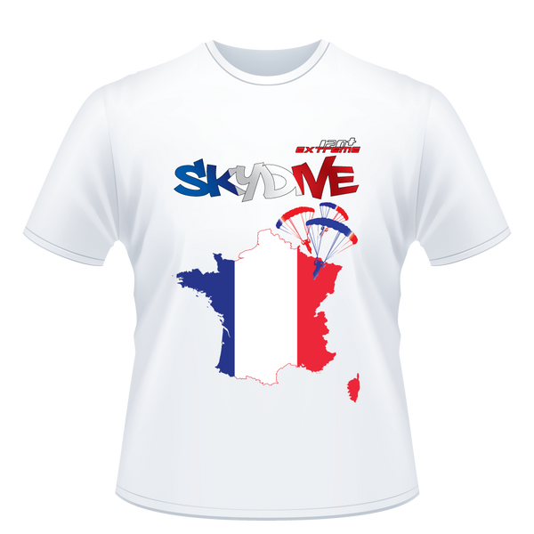 Skydiving T-shirts - Skydive All World - FRANCE - Unisex Tee -, T-shirt, SkydivingApparel™, Skydiving Apparel, Skydiving Apparel, Skydiving Gear, Olympics, T-Shirts, Skydive Chicago, Skydive City, Skydive Perris, Drop Zone Apparel, USPA, united states parachute association, Freefly, BASE, World Record,