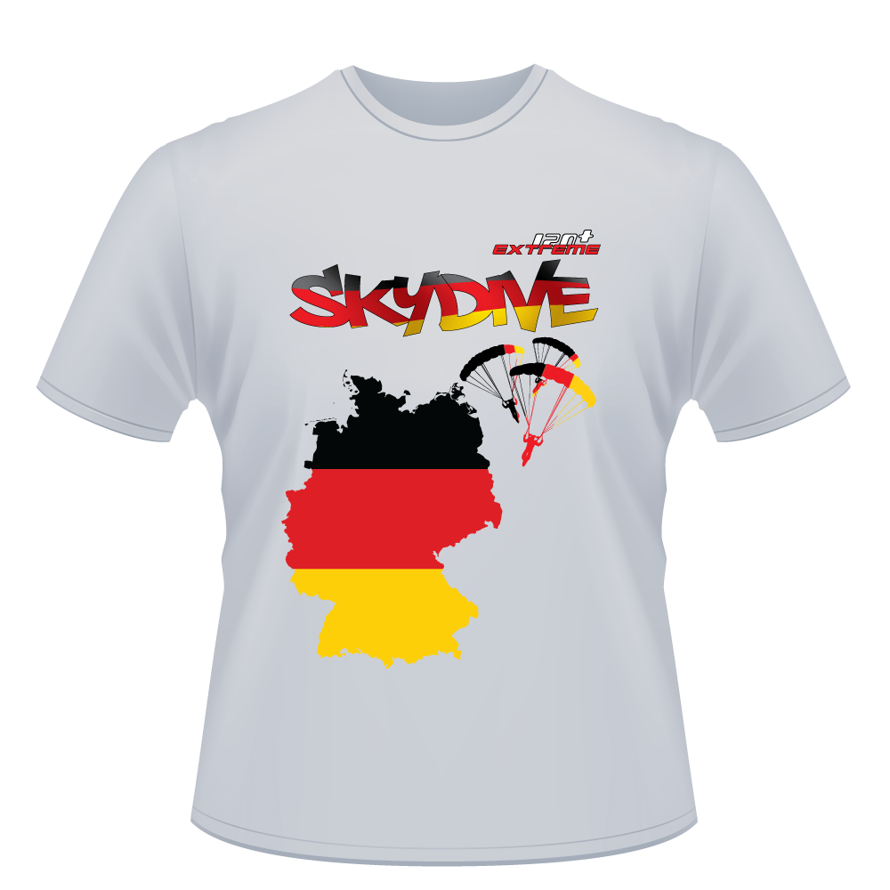 Skydiving T-shirts - Skydive All World - GERMANY - Unisex Tee -, T-shirt, eXtreme 120+™ Skydiving Apparel, eXtreme 120+™ Skydiving Apparel, Skydiving Apparel, Skydiving Gear, Olympics, T-Shirts, Skydive Chicago, Skydive City, Skydive Perris, Drop Zone Apparel, USPA, united states parachute association, Freefly, BASE, World Record,