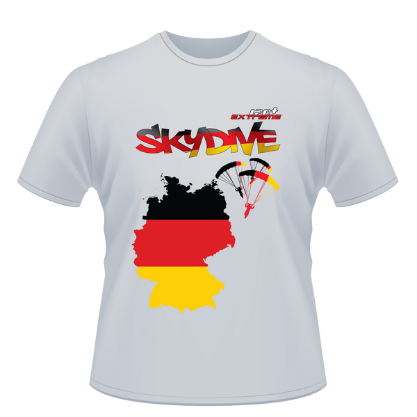 Skydiving T-shirts - Skydive World - GERMANY - Cotton Tee -, Shirts, eXtreme 120+™ Skydiving Apparel, eXtreme 120+™ Skydiving Apparel, Skydiving Apparel, Skydiving Gear, Olympics, T-Shirts, Skydive Chicago, Skydive City, Skydive Perris, Drop Zone Apparel, USPA, united states parachute association, Freefly, BASE, World Record,