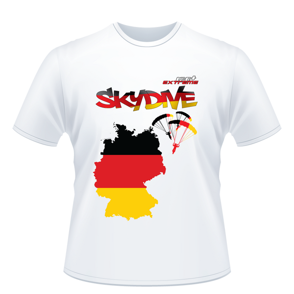 Skydiving T-shirts - Skydive All World - GERMANY - Unisex Tee -, Shirts, eXtreme 120+™ Skydiving Apparel, eXtreme 120+™ Skydiving Apparel, Skydiving Apparel, Skydiving Gear, Olympics, T-Shirts, Skydive Chicago, Skydive City, Skydive Perris, Drop Zone Apparel, USPA, united states parachute association, Freefly, BASE, World Record,