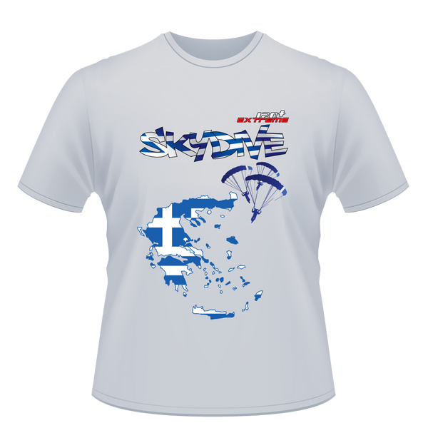 Skydiving T-shirts - Skydive World - GREECE - Cotton Tee -, Shirts, eXtreme 120+™ Skydiving Apparel, Skydiving Apparel, Skydiving Apparel, Skydiving Gear, Olympics, T-Shirts, Skydive Chicago, Skydive City, Skydive Perris, Drop Zone Apparel, USPA, united states parachute association, Freefly, BASE, World Record,