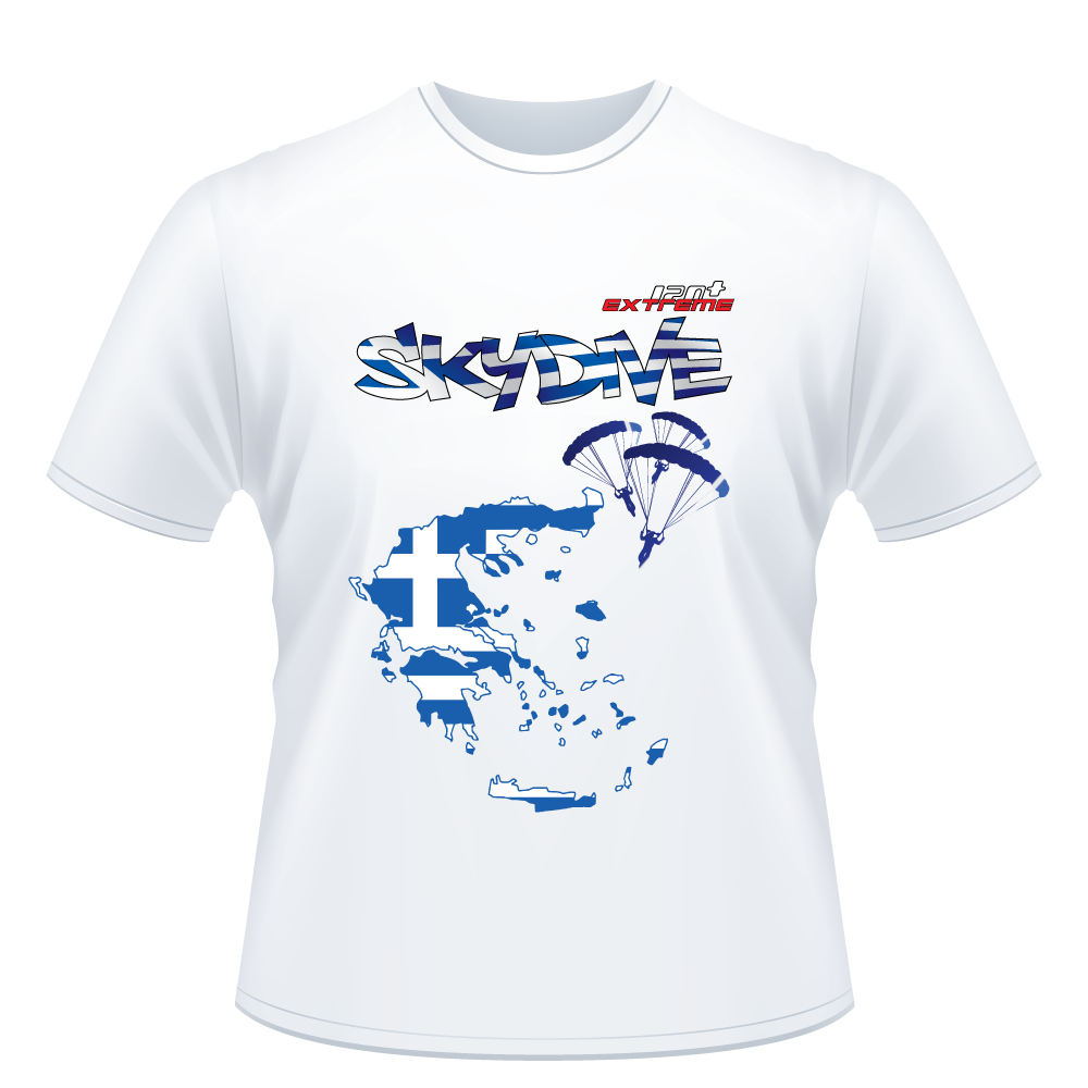 Skydiving T-shirts - Skydive All World - GREECE - Unisex Tee -, Shirts, eXtreme 120+™ Skydiving Apparel, eXtreme 120+™ Skydiving Apparel, Skydiving Apparel, Skydiving Gear, Olympics, T-Shirts, Skydive Chicago, Skydive City, Skydive Perris, Drop Zone Apparel, USPA, united states parachute association, Freefly, BASE, World Record,