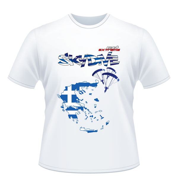 Skydiving T-shirts - Skydive All World - GREECE - Unisex Tee -, T-shirt, SkydivingApparel™, Skydiving Apparel, Skydiving Apparel, Skydiving Gear, Olympics, T-Shirts, Skydive Chicago, Skydive City, Skydive Perris, Drop Zone Apparel, USPA, united states parachute association, Freefly, BASE, World Record,