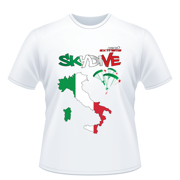 Skydiving T-shirts - Skydive All World - ITALY - Unisex Tee -, T-shirt, SkydivingApparel™, Skydiving Apparel, Skydiving Apparel, Skydiving Gear, Olympics, T-Shirts, Skydive Chicago, Skydive City, Skydive Perris, Drop Zone Apparel, USPA, united states parachute association, Freefly, BASE, World Record,