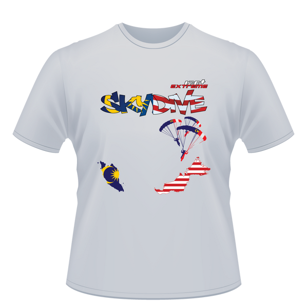 Skydiving T-shirts - Skydive World - MALAYSIA - Cotton Tee -, Shirts, eXtreme 120+™ Skydiving Apparel, Skydiving Apparel, Skydiving Apparel, Skydiving Gear, Olympics, T-Shirts, Skydive Chicago, Skydive City, Skydive Perris, Drop Zone Apparel, USPA, united states parachute association, Freefly, BASE, World Record,